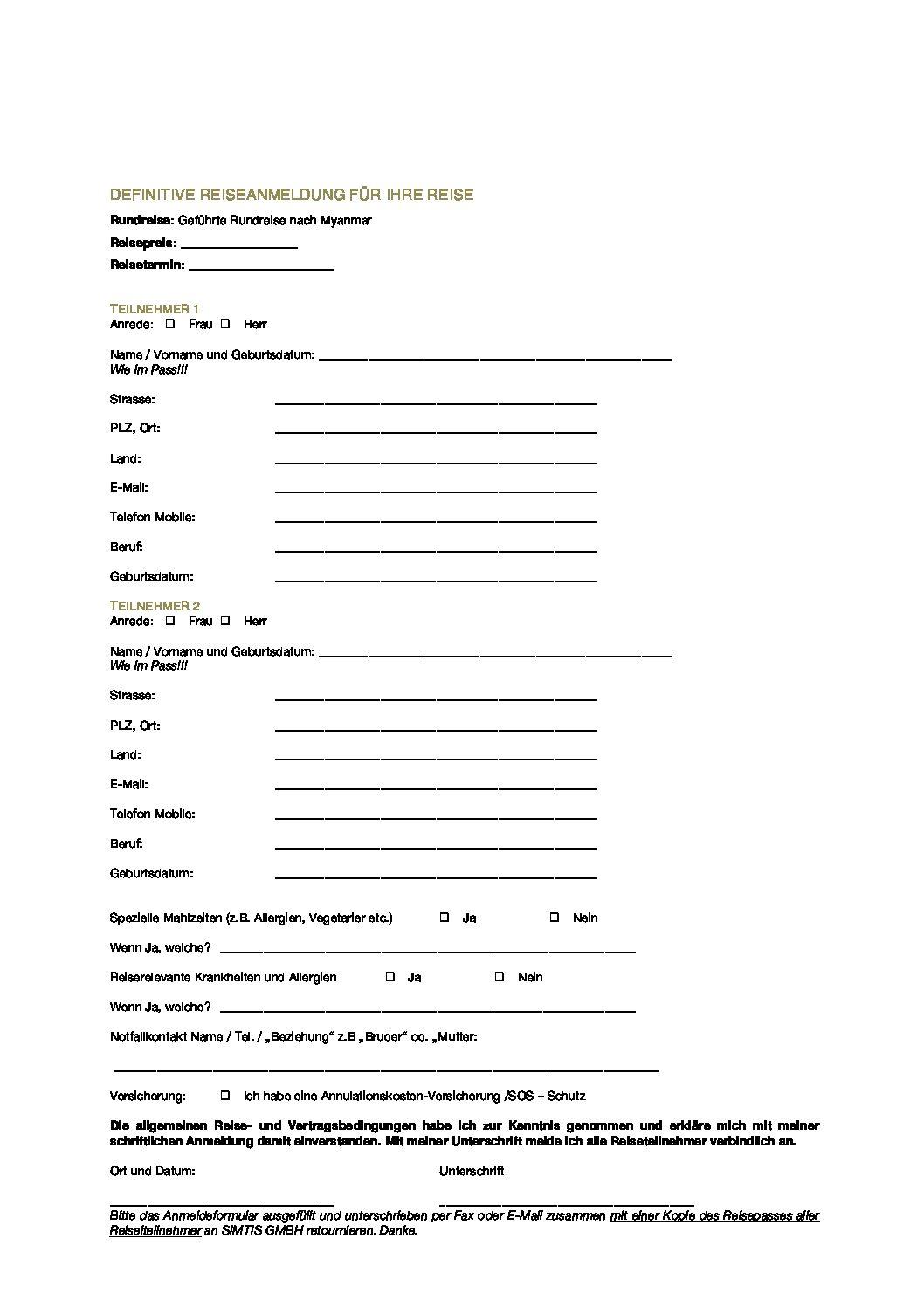 Beispielbild mit Anmeldung für eine geführte Rundreise in Myanmar in Asien mit Simtis.