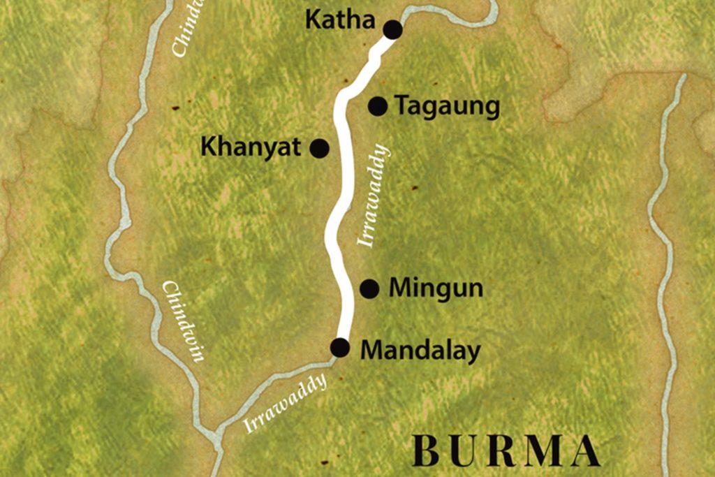 Reise in Myanmar in Asien. Die Abbildung einer Karte veranschaulicht die Strecke der Flusskreuzfahrt auf dem Irrawaddy von Katha bis Mandalay.