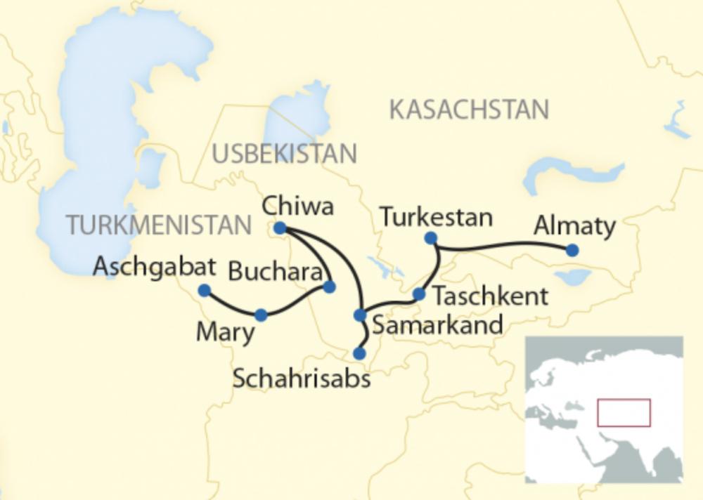 Reise entlang der Seidenstrasse im Orient. Die Reiseroute mit dem Zug ist abgebildet und deckt die Strecke Aschgabat, Mary, Buchara, Chiwa, Samarkand, Schahrisabs, Taschkent, Turkestan und Almaty.