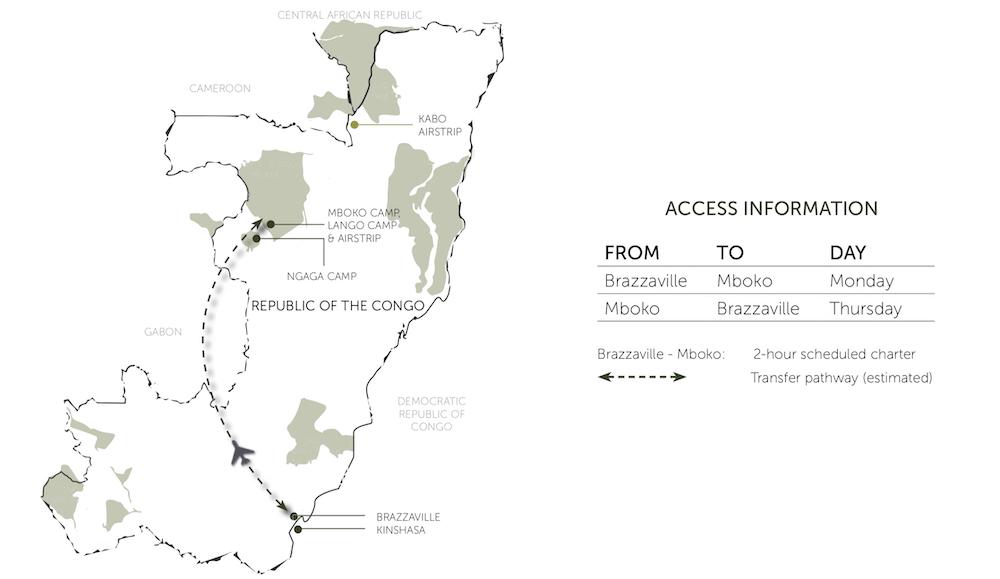 Reise im Kongo in Afrika. Landkarte der Odzala Discovery Camps im Nationalpark.