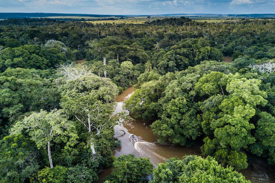 Reise im Kongo in Afrika. Blick aus der Luft auf die Landschaft, ein breiter Fluss schlängelt sich durch üppigen Urwald.
