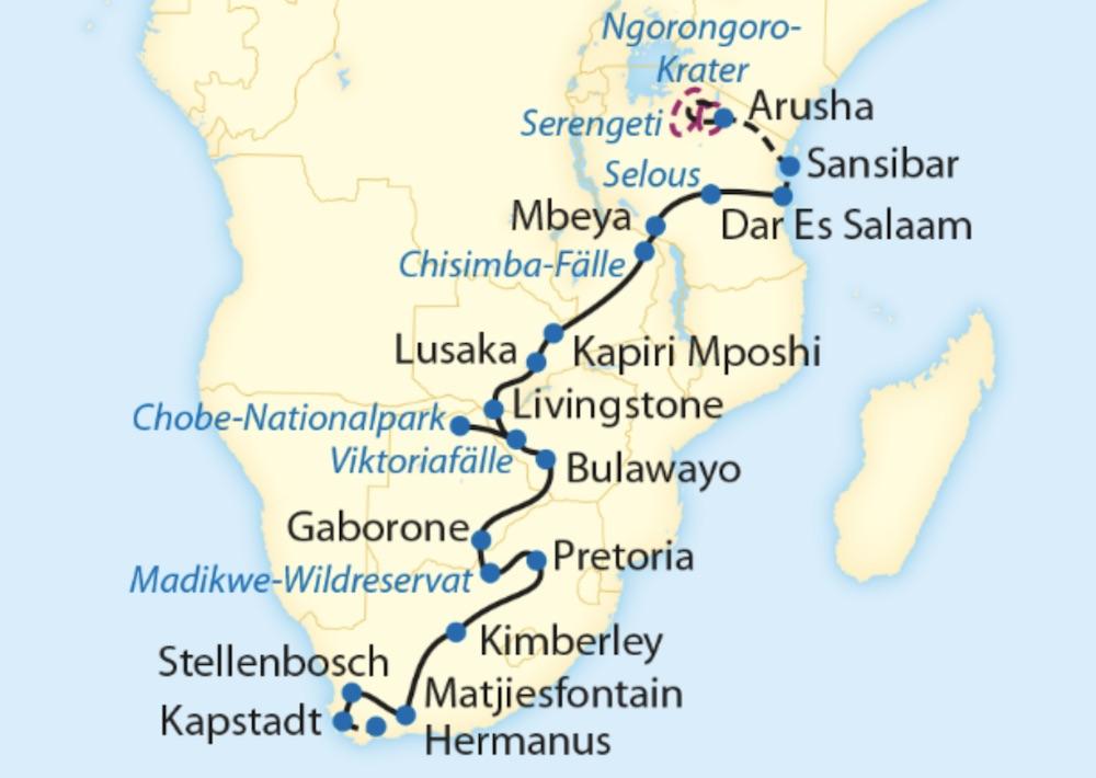 Zugreise mit Rovos Rail in Afrika. Abbildung des Reiseverlaufs von Dar es Salaam in Tansania bis nach Kapstadt in Südafrika.