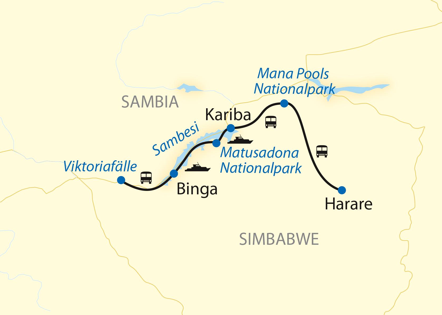 Reie in Sambia in Afrika. Landkarte mit Route einer Hausboot Safari in Sambia und Simbabwe