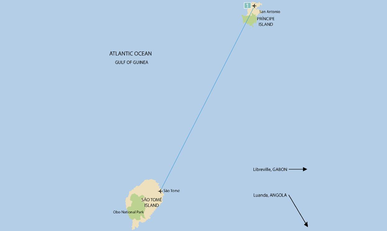 Reise in Sao Tome und Principe. Landkarte von den beiden Inseln im Atlantischen Ozean, verbunden mit einer Fluglinie.