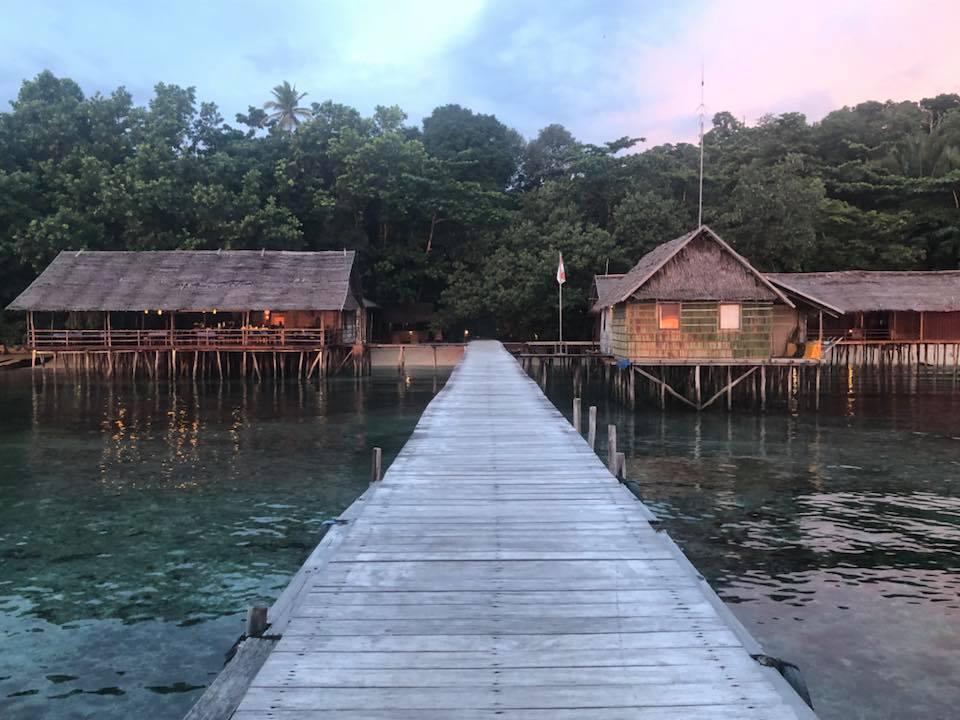 Reise in Raja Ampat in Indonesien. Der Steg vom Papua Paradise Eco Resort führt zu zwei Bungalows auf Stelzen.