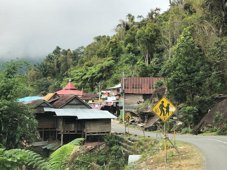 Reise in Sulawesi in Indonesien. Ein ärmliches Dorf des Volksstamms Toraja in den Bergen, von dichtem Urwald umgeben.