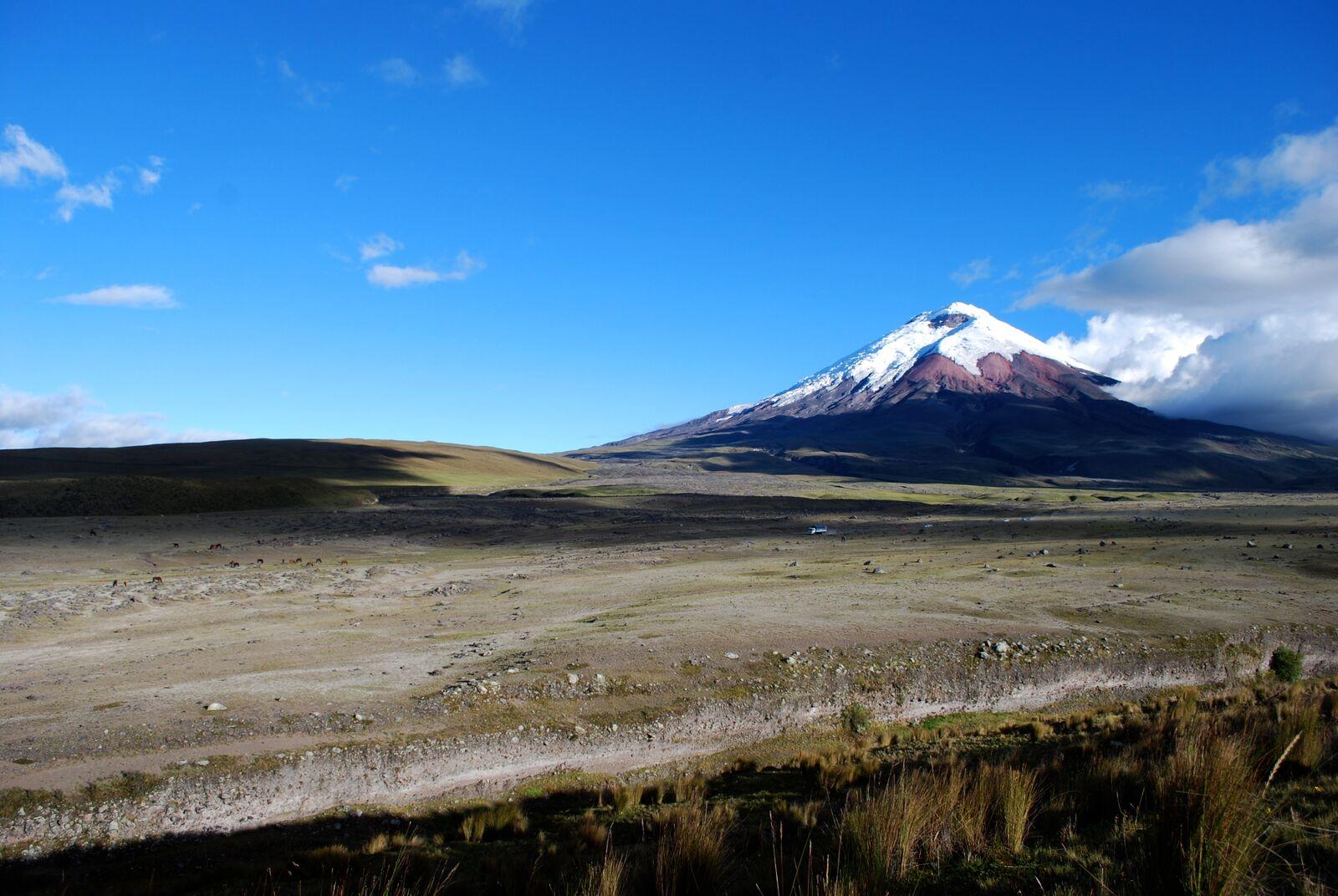 Reise in Galapagos und Ecuador in Südamerika. Ein weites, karges Hochlandplateau, in der Ferne ist ein schneebedeckter Vulkankegel zu sehen.