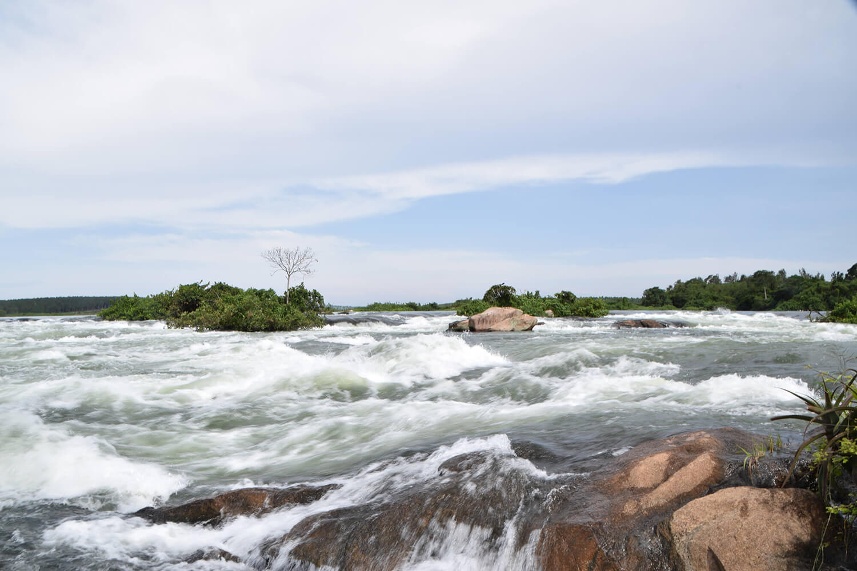 Reise in Uganda in Afrika. Stromschnellen kurz vor dem Wasserfall Murchison Falls, der in das Victoria Nildelta fliesst.