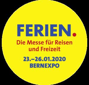"""Logo in gelb, blau und rot von der Expo Ferienmesse in Bern mit dem Schriftzug """"Ferien. Die Messe für Reisen und Freizeit""""."""