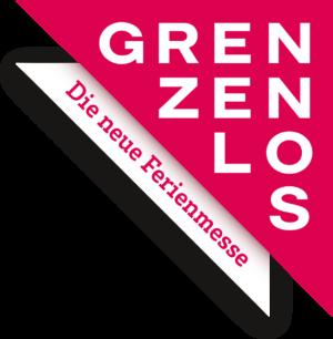 """Logo in Pink und Weiss von der Grenzenlos Ferienmesse in St. Gallen mit dem Schriftzug """"Grenzenlos-die neue Ferienmesse"""""""