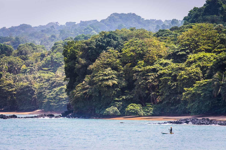 Reise in Sao Tome und Principe in Afrika. Die wild bewachsene Küste mit üppigem Urwald liegt im Nachmittagslicht, ein einheimischer Mann paddelt kniend auf einem Surfbrett im Meer.