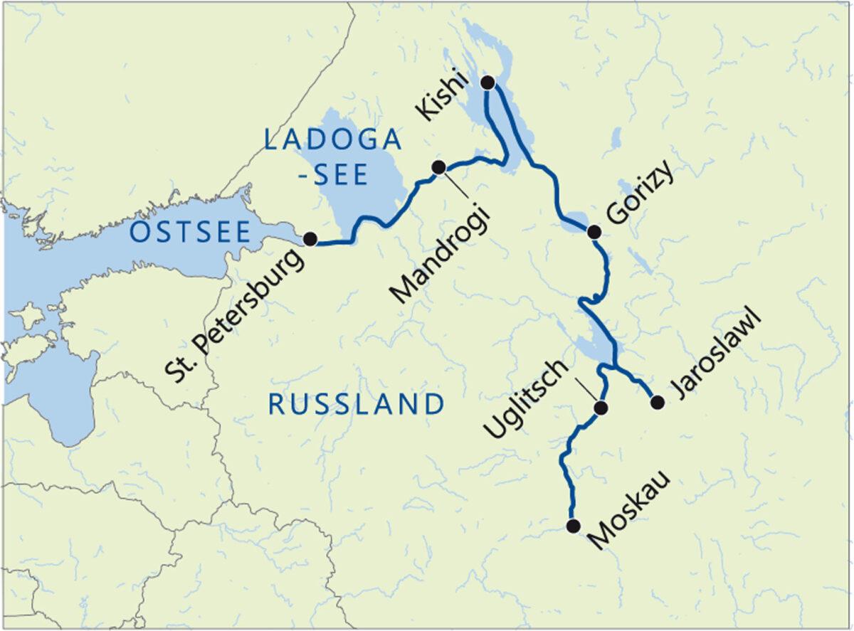 Reise in Russland in Europa. Die Katharina Excellence legt auf der Flusskreuzfahrt die Strecke von Moskau nach St. Petersburg zurück, abgelbildet auf einer Landkarte.