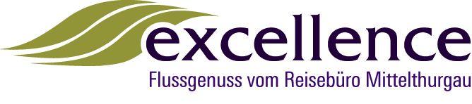"""Logo in Violett von Excellence mit dem Schriftzug """"Flussgenuss vom Reisebüro Mittelthurgau""""."""
