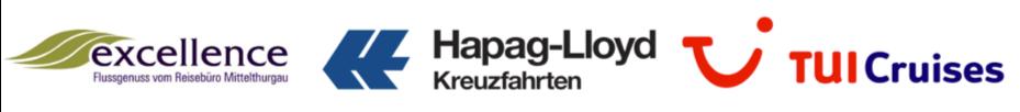 Die Logos der drei Reedereien Hapag Lloyd Kreuzfahrten, Excellence und TUI Cruises nebeneinander.
