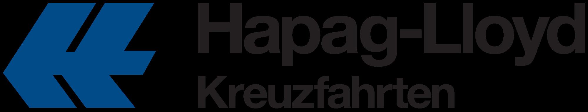 Logo in schwarz und dunkelblau von Hapa Lloyd Kreuzfahrten.