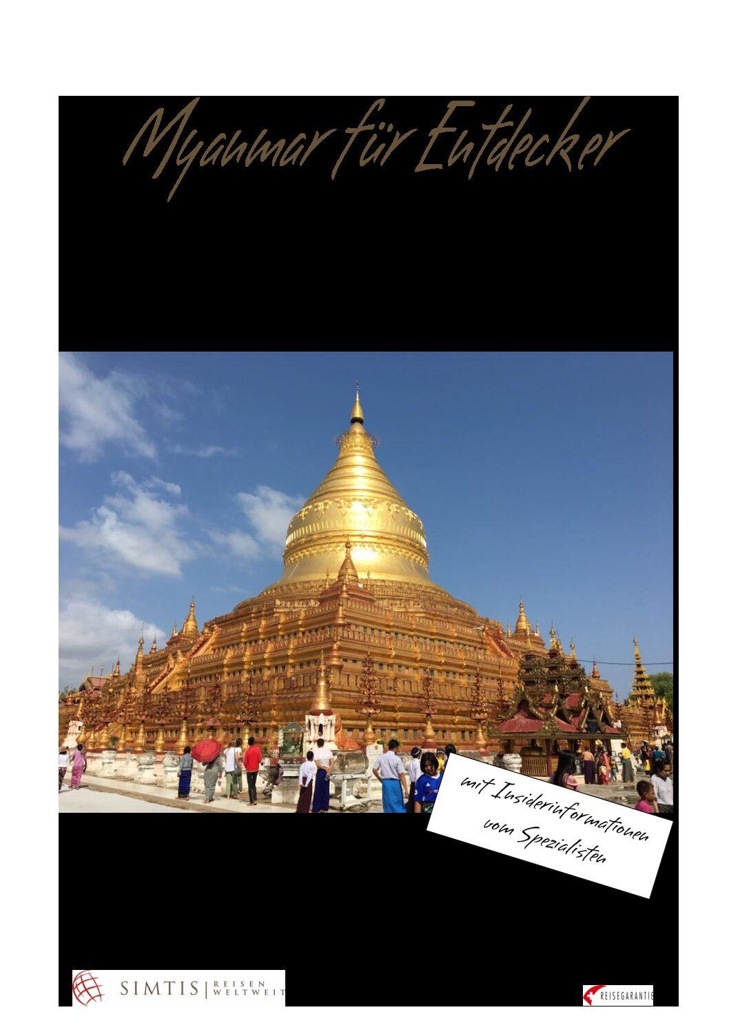 Reise in Myanmar in Asien. Im Flyer für die Kleingruppenreisen in 2020 und 2021 sind sämtliche wichtige Informationen enthalten.