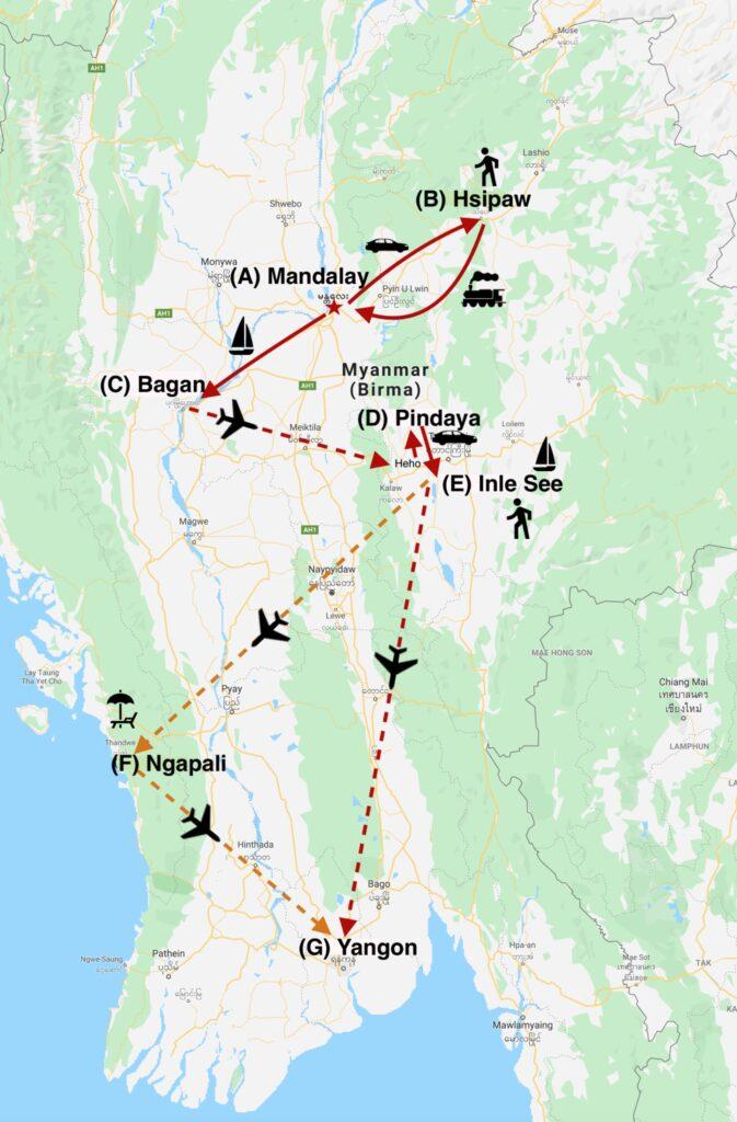 Reise in Myanmar in Asien. Auf einer Karte ist schematisch die Route der Kleingruppenreise dargestellt. Die Route deckt Mandalay, Hsipaw, Bagan, Pindaya, Inle See, Ngapali und Yangon ab.