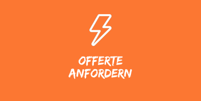 """Illustration mit weissem Blitz auf orangefarbenem Hintergrund, mit Text """"Offerte anfordern"""". Dies ist ein Reiseservice von SIMTIS"""