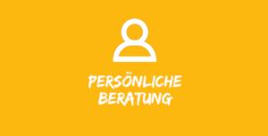 """Illustration mit Mensch vor gelbem Hintergrund mit Text """"persönliche Beratung"""""""