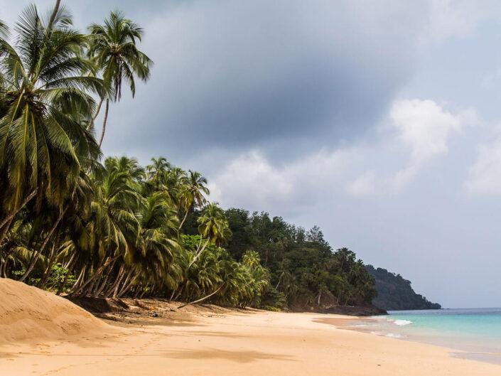 Reise in Sao Tome und  Principe in Afrika. Helle, von Palmen gesäumter Sandstrand bedeckt die Küste, das Meer erscheint türkis im Sonnenlicht.
