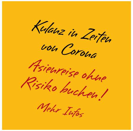 """Simtis Button mit der Aufschrift """"Kulanz in Zeiten von Corona. Asienreise ohne Risiko buchen! Mehr Infos"""