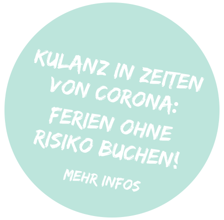 """Simtis Button mit der Aufschrift """"Kulanz in Zeiten von Corona. Ferien ohne Risiko buchen! Mehr Infos"""