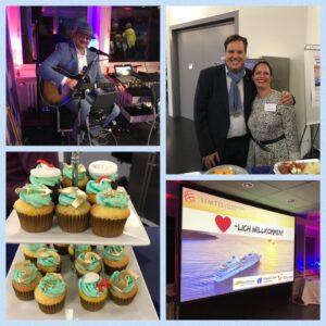 Eine Collage des Kreuzfahrtabend Events von Simtis in Baden. Abgebildet sind Meret Deeg und Daniel Fuog vom Reisebüro Mittelthurgau, der Musiker des Abends und eine Etagère mit verzierten Cupcakes.
