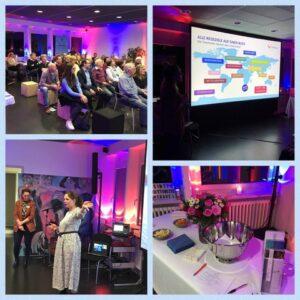 Eine Collage des Kreuzfahrtabend Events von Simtis in Baden. Abgebildet sind Meret Deeg, eine Präsentation von TUI Mein Schiff und die gebannten Besucher.