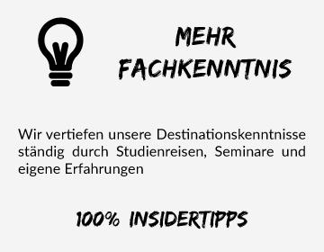 Simtis bietet mehr Fachkenntnis. Wir vertiefen unsere Destinationskenntnisse ständig durch Studienreisen, Seminare und eigene Erfahrungen. 100 % Insidertipps
