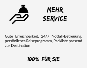 Simtis bietet mehr Service durch gute Erreichbarkeit, 24/7 Notfall-Betreuung, persönliches Reiseprogramm und einer Packliste passend zur Destination. 100 % für Sie.