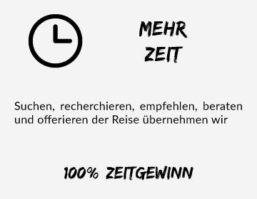 Simtis bietet Ihnen mehr Zeit, denn suchen, recherchieren, empfehlen, beraten und offerieren der Reise übernehmen wir. 100 % Zeitgewinn.