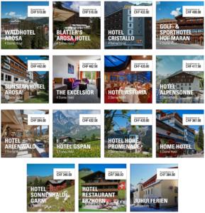 Reise in der Schweiz in Europa. Angebot für diverse Hotels in Arosa und Umgebung werden aufgezeigt.