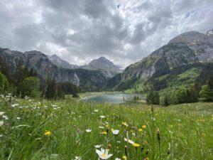 Reise in der Schweiz in Europa. Bergwiese bei Gstaad im Berner Oberland, dahinter ist ein kleiner See zusehen, der von hohen Bergen umgeben ist.
