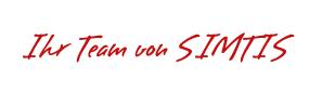 """Roter Text in Handschrift """"Ihr Team von SIMTIS"""""""