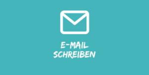 """Illustration Brief Couvert vor blauem Hintergrund mit Text """"E-Mail schreiben"""""""