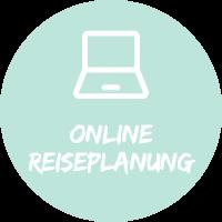 """Illustration mit einem Laptop vor hellblauem Hintergrund mit Text """"Online Reiseplanung"""", einem Simtis Planungstool für Reisen."""