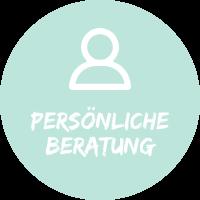 """Illustration mit Mensch vor hellblauem Hintergrund mit Text """"persönliche Beratung"""", einem Simtis Beratungsservice für Reisen."""