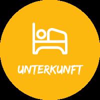 """Illustration Bett vor gelbem Hintergrund mit Text """"Unterkunft"""" für Pauschalreisen mit Simtis."""