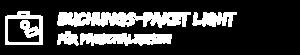 """Illustration Reisekoffer vor türkisem Hintergrund mit Text """"Buchungspaket Light für Pauschalreisen"""". Dies ist eines der SIMTIS Buchungspakete für Pauschalreisen."""