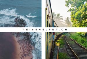 Reisehelfer Titelbild mit zwei einzelnen Bildern. Das eine Foto zeigt Reisebilder von brechenden Wellen an einem tropischen Strand. Auf dem anderen Bild ist ein Zug in Sri Lanka zu sehen, der durch grüne Landschaften fährt. Die Fenster sind offen.