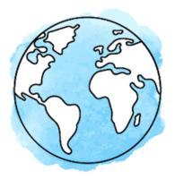 Illustration Weltkugel vor hellblauem Hintergrund