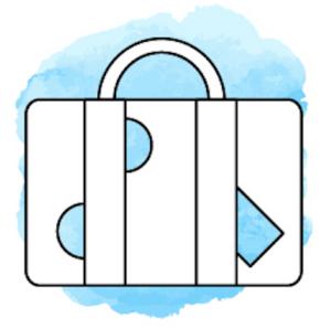 Reisekoffer vor hellblauem Hintergrund