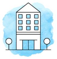 Illustration von einem mehrstöckigen Haus vor hellblauem Hintergrund