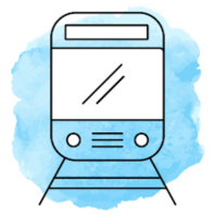 Illustration von einem Zug vor hellblauem Hintergrund