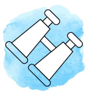Illustration mit einem Fernglas vor hellblauem Hintergrund