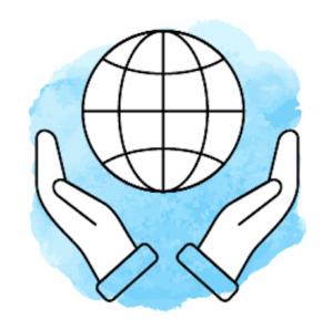 Illustration mit zwei Händen, die eine Weltkugel halten, vor hellblauem Hintergrund.