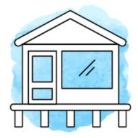 Illustration von einem kleinen Haus auf Stelzen vor hellblauem Hintergrund