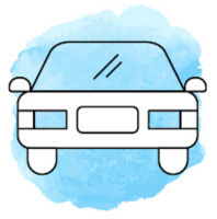 Illustration mit einem Auto vor hellblauem Hintergrund