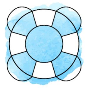 Illustration Rettungsring vor hellblauem Hintergrund