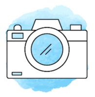 Illustration Kamera vor hellblauem Hintergrund